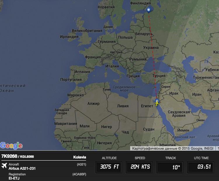 Данные о полете лайнера с сайта Flightradar