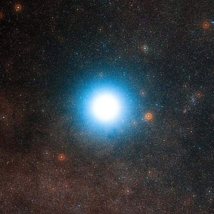 Альфа Центавра - двойная звезда, но с Земли выглядит как одна.