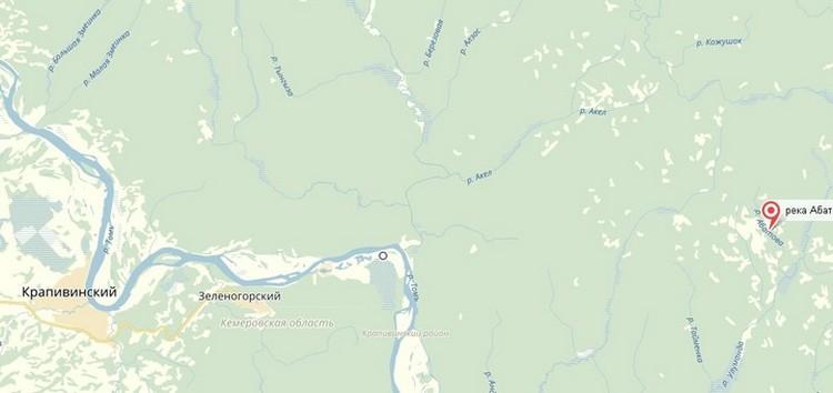 Обломки нашли в 40 километрах от поселка Крапивинский. Фото: Яндекс.Карты
