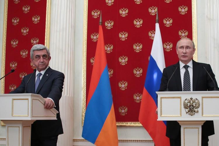Президент России Владимир Путин и президент Армении Серж Саргсян Фото: Михаил Метцель/ТАСС