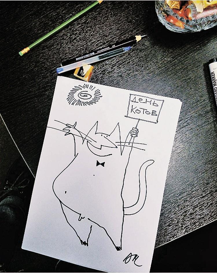 Гость нарисовал для нас кота. Оказывается, на этой неделе был международный день этого животного.