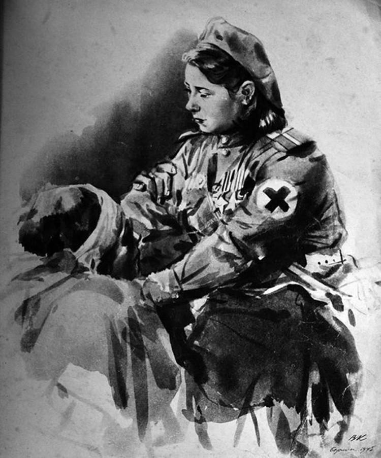 Портрет Матрены Наздрачевой «Ласковые руки» художника Виктора Климашина в 1946 году опубликовал журнал «Огонек»