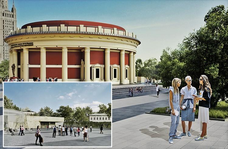 На месте снесенного самостроя возле станций метро «Краснопресненская» (вверху), «Баррикадная» (слева) и других организуют удобные пешеходные зоны. Фото: mos.ru
