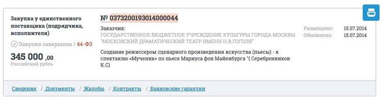 Скриншот с сайта Госзакупок.