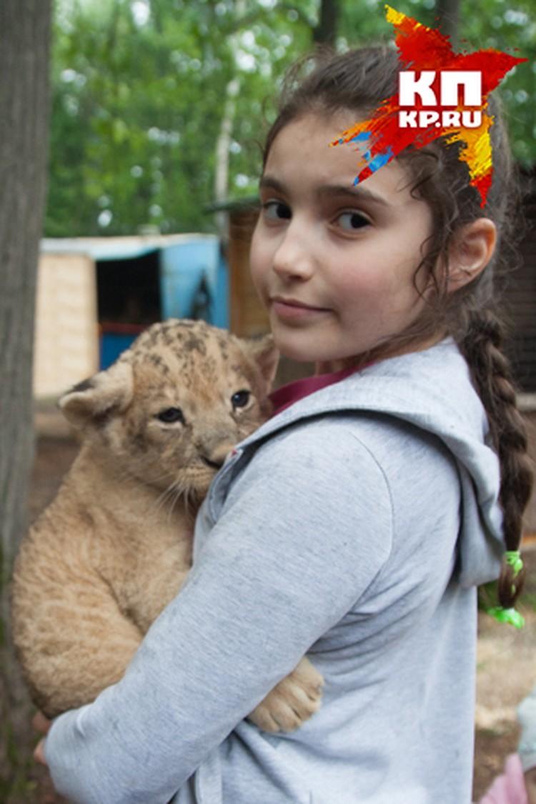 Больше всего львенок тянется к детям