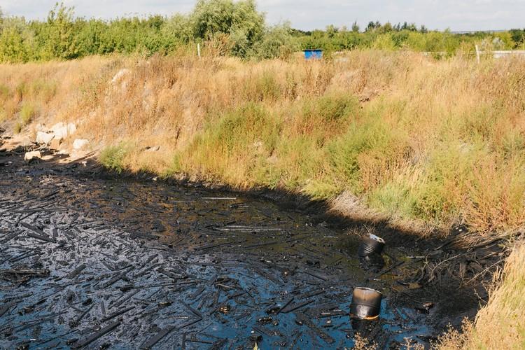 Озера покрывает плотный слой мазута, смешанный с мусором