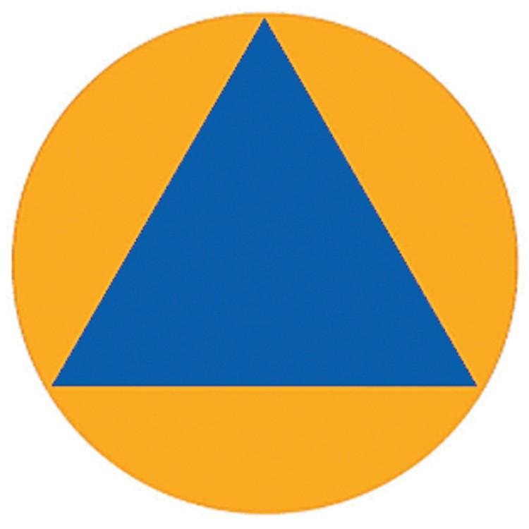 Почему эмблемой гражданской обороны является голубой треугольник на оранжевом круге?