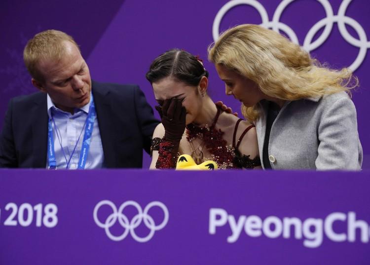 Слезы Евгении Медведевой после проката в произвольной программе.