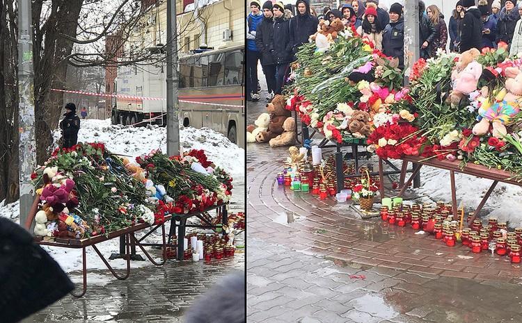 Стихийный мемориал неподалеку от места трагедии. ФОТО vk.com/podsluhano_kemerovo