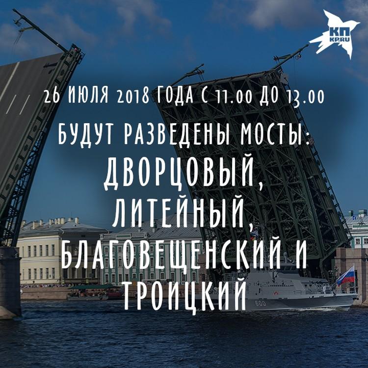 Генеральная репетиция Дня ВМФ 26 июля 2018 года в Санкт-Петербурге: Транспортные изменения в городе.