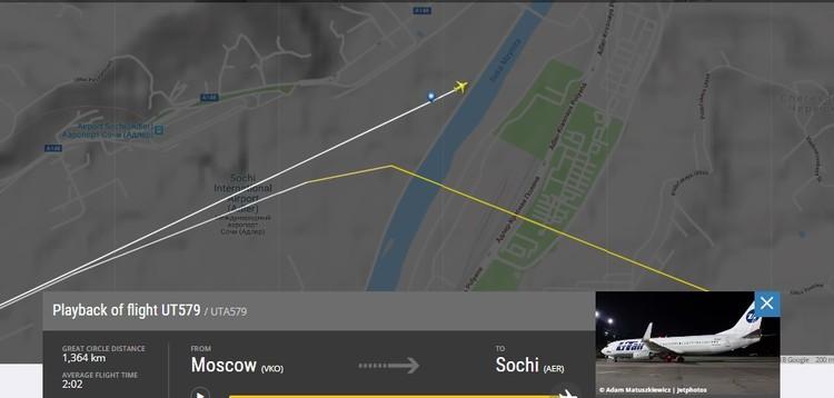 Место аварии борта VQ-BJI. Flightradar24