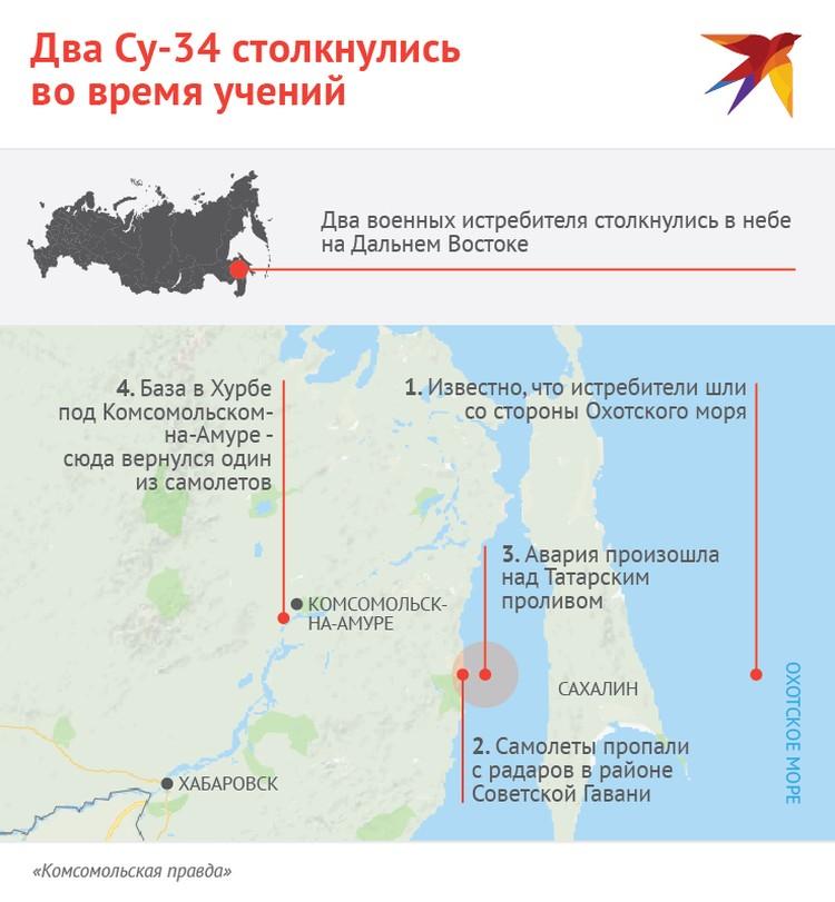 Схема происшествия с Су-34 в Хабаровском крае.