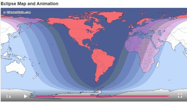 Карта мест на земном шаре, где будут видны фазы лунного затмения Фото: timeanddate.com