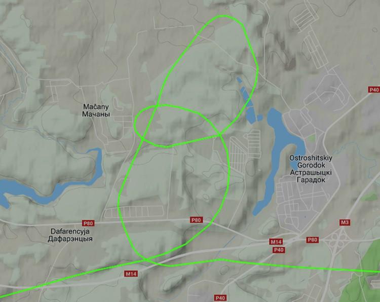 Схема полета нового вертолета над президентской резиденцией в Острошицком Городке. Фото: Flightradar24.com.