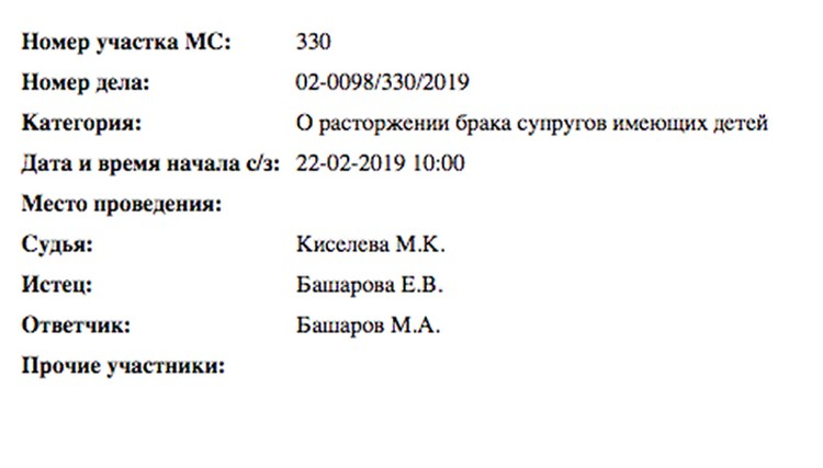 Елизавета Шевыркова подала в Бабушкинский мировой суд столицы заявление о разводе