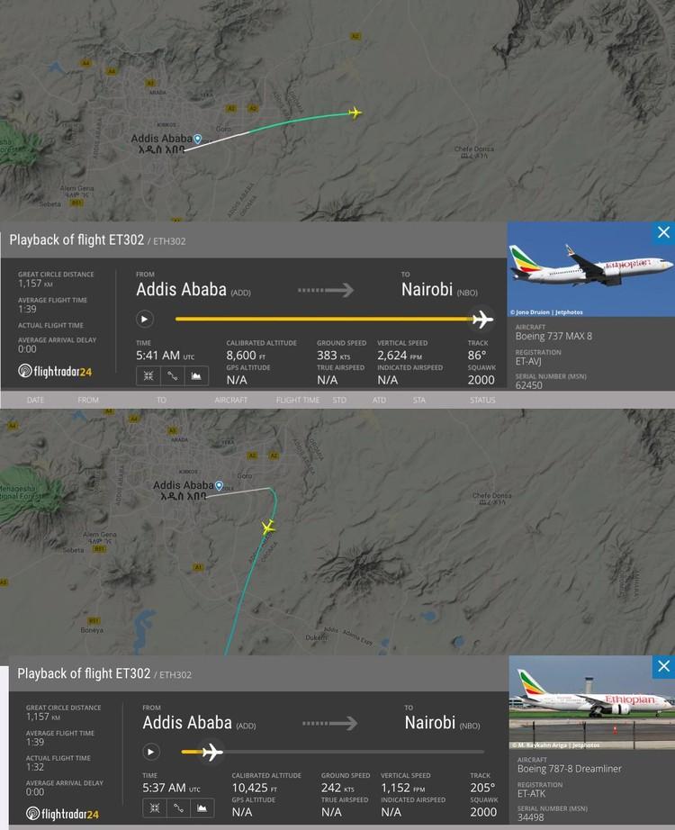 Пользователи заметили, что в день крушения (верхняя картинка) самолет отклонился от привычного курса (на нижней картинке)