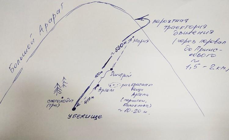 Схема, где нашли туристов на горе Арарат