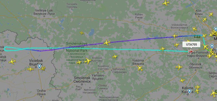 Лайнер развернулся, пролетая над территорией Белоруссии Фото: flightradar24