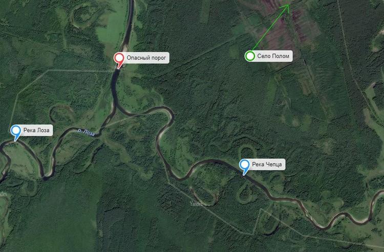 Где находится опасный порог. Фото: Яндекс.Карты