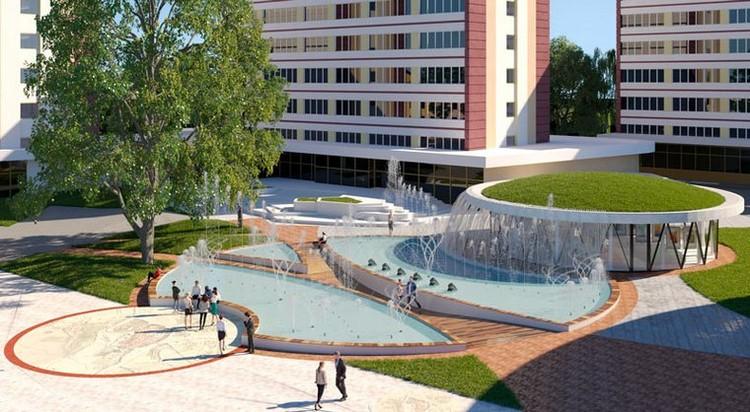 Таким фонтан должен стать по проекту. Похоже, его пришлось упростить - как минимум павильон сделали без зеленой крыши.