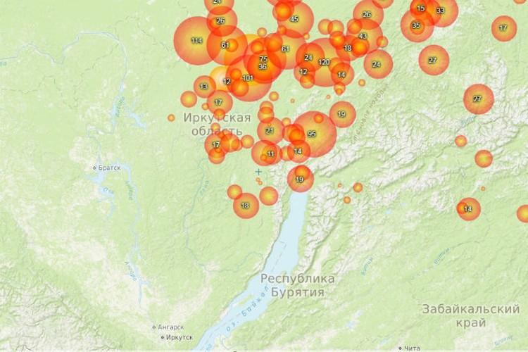 По карте видно, что горит север Иркутской области. Фото: fires.ru.