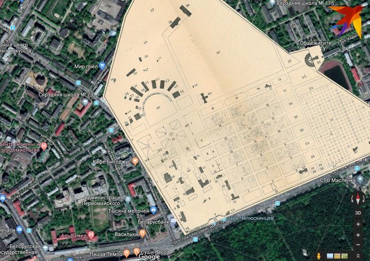Территория выставки, наложенная на современную карту Минска.