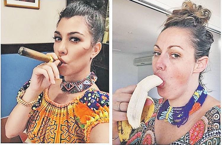 Кортни Кардашьян (сестра фигуристой Ким Кардашьян) позирует с сигарой, но приколистка Барбер решила, что банан полезнее. Про него ведь американский минздрав не предупреждал. Фото: instagram.cominstagram.com