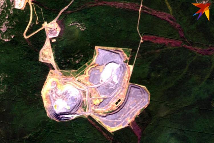 Загрязнения вблизи карьера Ново-Шемур: бордовые линии, идущие от объекта - погибший лес. Фото: снимки из космоса
