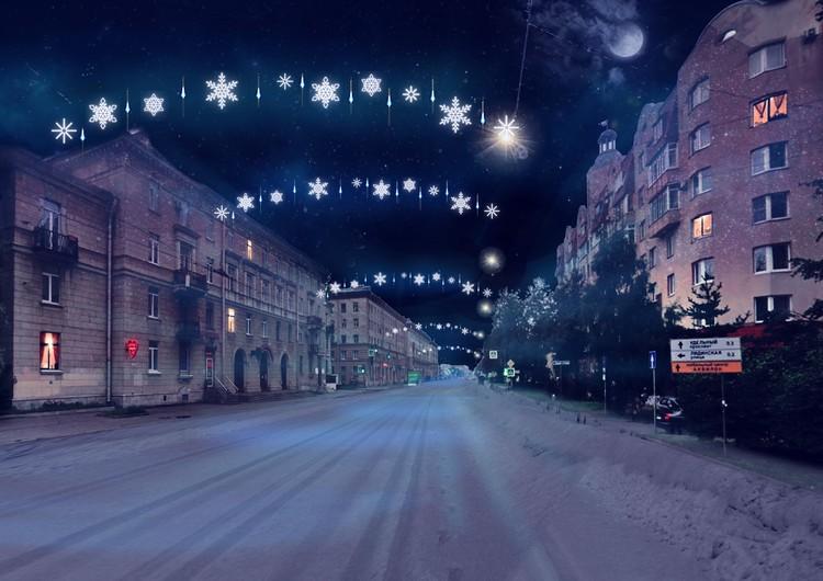 Светящиеся тросы на проспекте Энгельса.