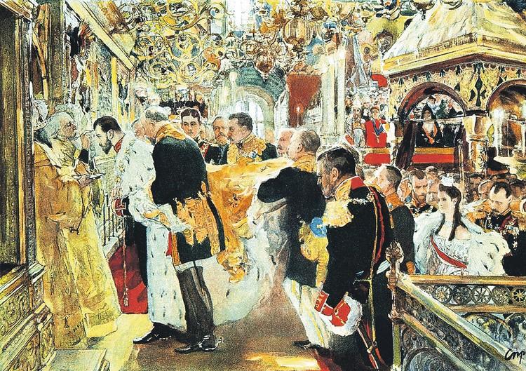В мае 1896-го, когда Николай II уже полтора года был российским императором, в Успенском соборе Кремля состоялось его миропомазание, которое фотографически запечатлел Валентин Серов. Фото: Редакция художественного оформления издательства «Вече»