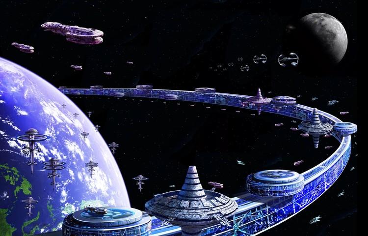 Большая космическая Гавань Орбитального кольца с космопортами. Рисунок: Артур Скижали-Вейс