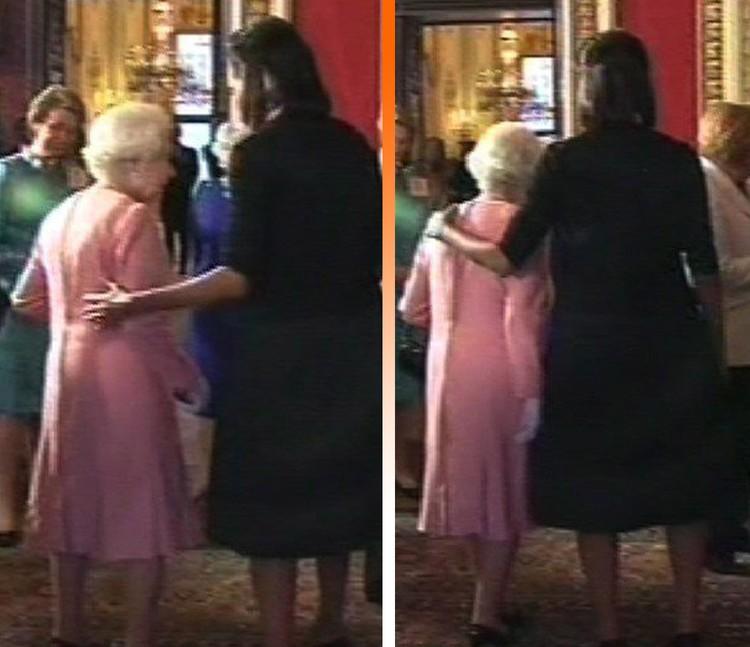Первая Леди США приобняла Королеву и английская пресса долго мусолила этот скандал.