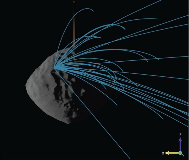 Астероид испускает реактивные струи.
