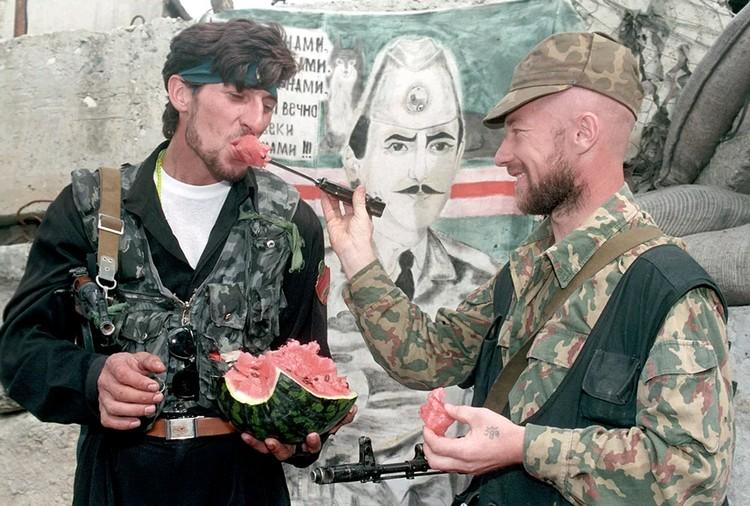 На блок-посту чеченских боевиков.