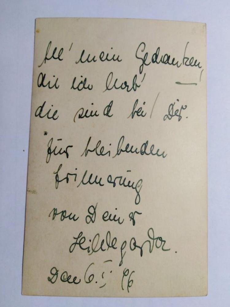 - Все мои мысли о тебе. На вечную память – Хильдегорда Зауль, - словно отвечает надпись на обратной стороне снимка. Фото: предоставлено Надеждой Скогоревой.