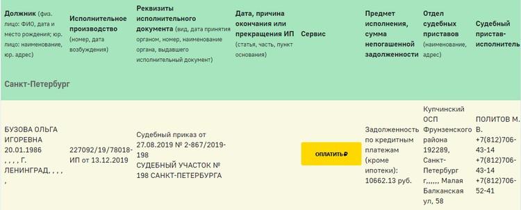 Информация о долге появилась на сайте ФССП. Фото: скриншот.