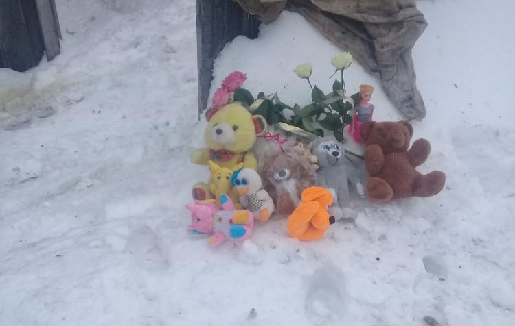 Местные жители несут к дому игрушки. Фото прислали очевидцы