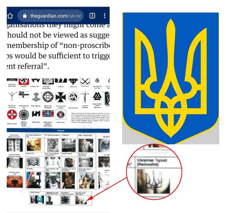 В британском полицейском пособии украинский трезубец появился в ряду с экстремистскими символами.