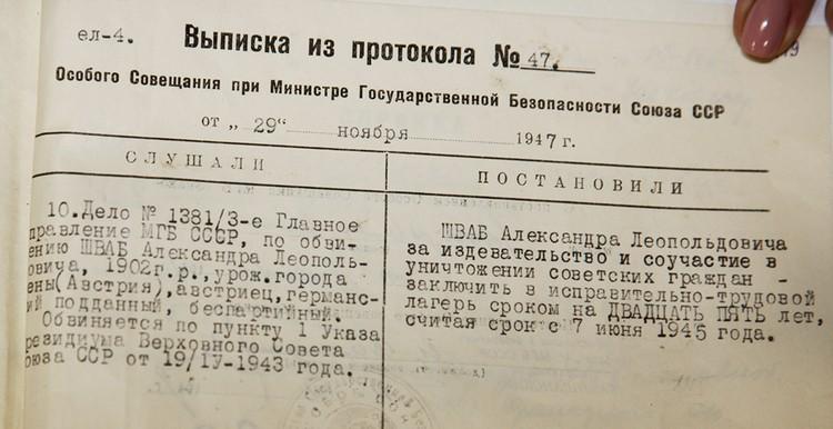 Постановление суда в отношении Александра Шваба. Фото из архива Министерства Госбезопасности СССР