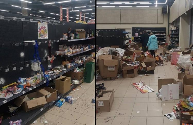 Люди наступают на продукты, пьют напитки прямо в магазине и толкаются друг с другом в надежде вырвать дешевый товар. Фото: instagram.com/violettaniki89