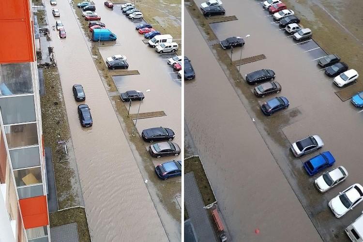 """В Мурино залило водой дворы многоэтажек. Фото: """"Мегаполис"""""""