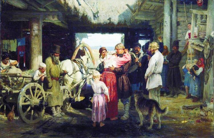 Проводы новобранца попали и на известную картину Ильи Репина.