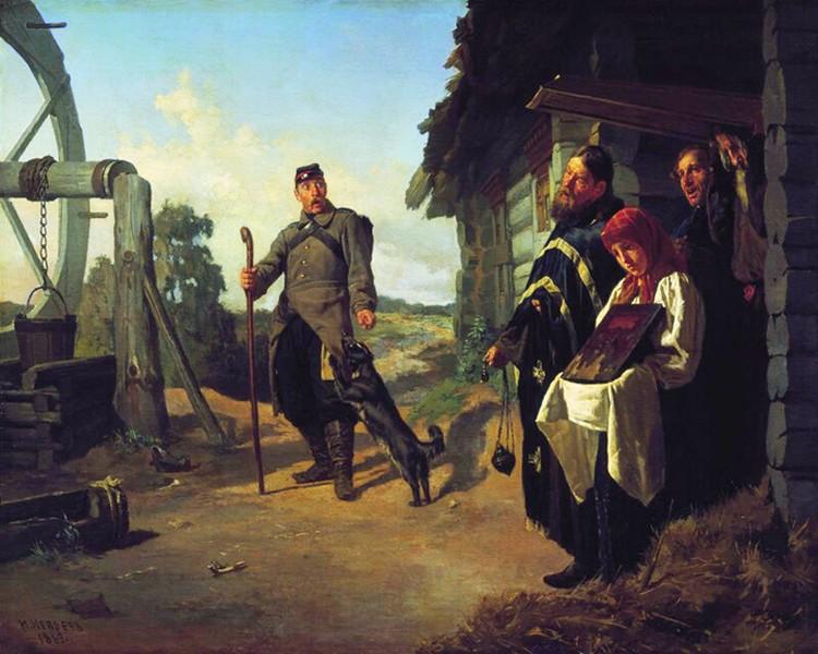 Вот так представил сцену возвращения рекрута художник Николай Неврев: служивый никогда не знал, кого застанет дома.