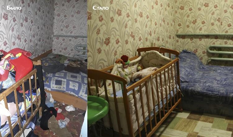 С помощью волонтеров семья меняет свой образ жизни. Слева: снимок, сделанный чиновниками во время проверки год назад. Справа - состояние той же комнаты во время визита корреспондента КП-Крым