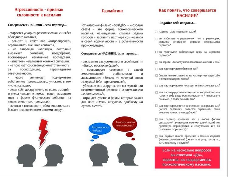 Памятка разработана проектом «Знание остановит гендерное насилие: поиск новых решений»