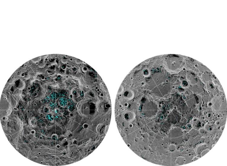 Расположение замерзшей воды в полярных областях Луны.