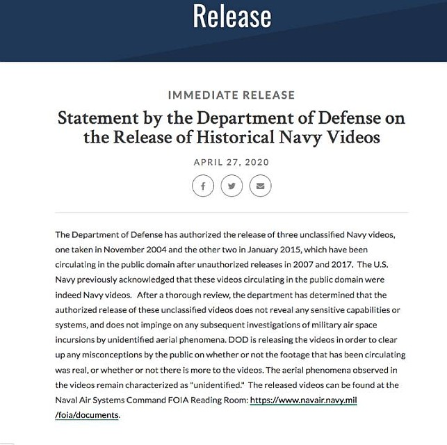 Заявление Министерства обороны США: сенсация по своей сути.