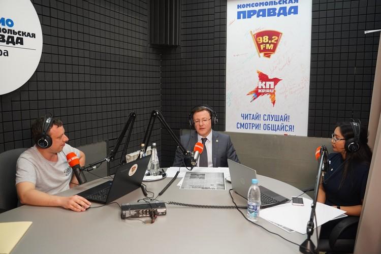 """В эфире губернатор ответил на волнующие всех вопросы и рассказал, за что любит """"Комсомолку"""""""