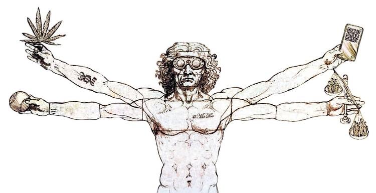 На обложке же «Экономиста» мы видим не идеального человека Леонардо, а откровенную пародию на него