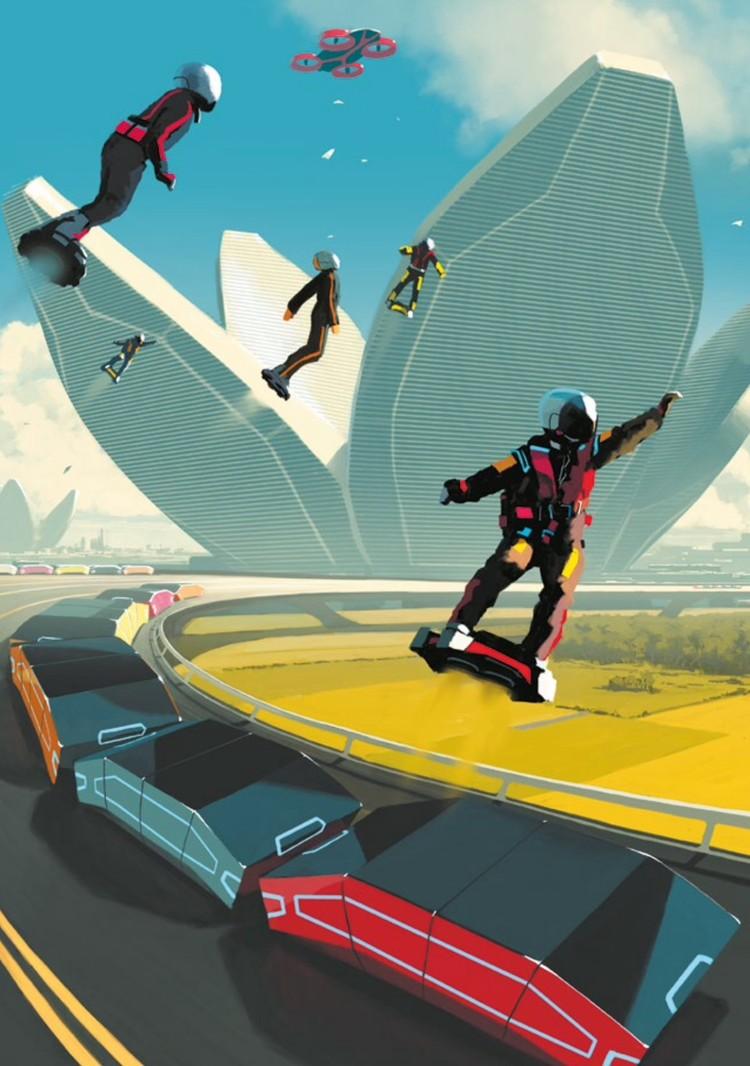 По дорогам-транспортерам вместо машин поедут автоматические модули на пять пассажиров. Желающие смогут летать на компактных скейтах-квадрокоптерах.
